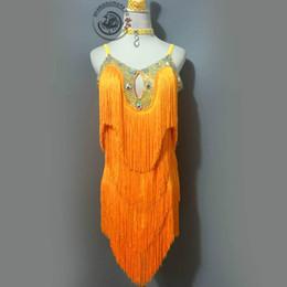 Wholesale Latin Dance Show - Latin Dance Skirt For Sale Top Quality Custom Made Stage Show Dancing Wear Women's Rumba Samba Chacha Latin Tassel Costumes