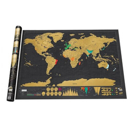 Wholesale Scratching Map - New Design Black Deluxe Scratch Map Travel Scratch Off World Map Best Gift for Education School