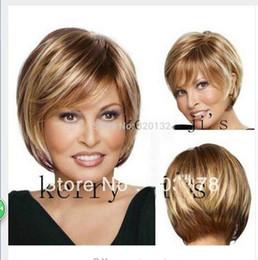 Wholesale Blonde Kanekalon Wig Cosplay - peruca hair queen cosplay Natural Brown Blonde Mix Straight Short Hair Wigs Short Raquel Welch Fashion Wig Kanekalon Hair wigs