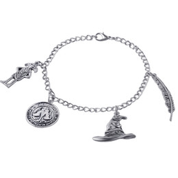 Wholesale Linked Charm Bracelets For Sale - film jewelry Ancient Silver Bracelet Talking Hat Wingardium Leviosa Dobby Coin Charm Bangle Cuff for Women Jewelry Gift 2018 hot sale 161724