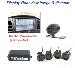 Wholesale Lcd Backup Mirror - car DVD parking sensor PZ622 four sensors TFT DVD rearview mirror Bibi sound 1 3 CMOS 3089 chip backup camera Free post