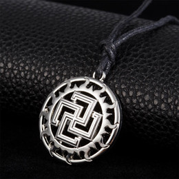 Wholesale Easter Solar - Freeshipping Solar-Cross Slavic Pendant Ancient Slavic Cross in Sun Necklace Talisman Amulet kolovrat Simple Long Necklace