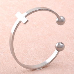 Wholesale Wholesale Cuff Links Cross - IJB5083 Shiny Silver Stainelss Steel Screw Cross Charms Bracelet Cremation Jewelry for Ashes Expandable Link Chain Bangle
