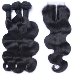 Wholesale Cheap Bulk Weave - Brazilian Hair Cheap 8A Body Wave With Closure Brazilian Indian Peruvian Cambodian 100% Unprocessed Virgin Human Hair Weave Free Shipping