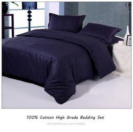Wholesale Striped Full Flat Sheet - wholesale-100%cotton pamask stripe bedding sets (duvet cover+flat sheet+pillowcases+