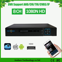 Wholesale Video Camera Hdmi - 1080N 5 IN1 hybrid 8CH Video Recorder Support 8ch AHD TVI HVR Onvif 2.4 IP cameras CCTV DVR 4ch audio and HDMI port