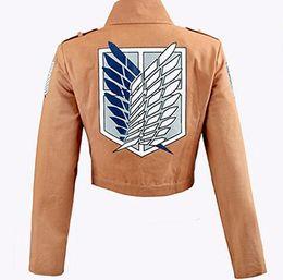 Wholesale Levi Cosplay Costume - Attack on Titan Jacket Shingeki no Kyojin Legion Coat Cosplay Eren Levi Jacket Plus Size Free shipping Halloween Costume