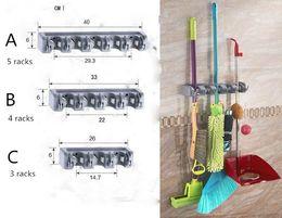 Wholesale Wall Mount Hanger Holder - Kitchen Wall Mounted Mop Holder 5 4 3 Position Kitchen Storage Mop Brush Broom Organizer Hanger Tool