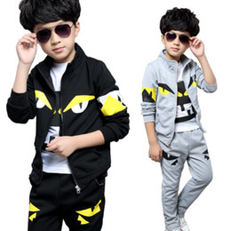 Wholesale 4t boys outerwear - cute kid boy coat and pants set little monster eyes cotton set for 4-12yrs children teenager outerwear clothes set hot sale