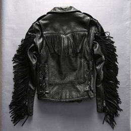 Wholesale Men Sheepskin Jacket Xl - Man Slim Tassel leather jacket lapel oblique zipper Men Harley's motorcycle coats First layer of genuine leather