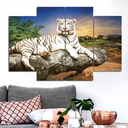 Wholesale Tiger Paintings Canvas - HD Print In The Sunset, Lying on The Rock of The White Tiger Frameless Paintings 4pcs(No Frame)Printd on Canvas Wall Art HD Print Painting