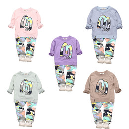 Wholesale 4t Camouflage Clothes - Kids Clothing Sets Casual Sweater with M Letters Long Sleeve Camouflage Pants Children's Suits for Girls Boys Summer 3-8T