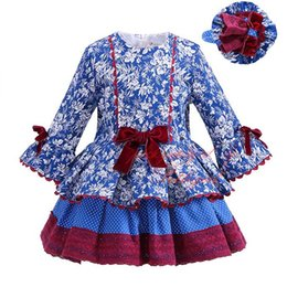 """Wholesale Casual Dress For Girls Kid - """"Pettigirl 2018 New Autumn Girl Blue Dress Floral Printing Bowknot High Waist Multilayer Casual Boutique Clothing For Kids G-DMGD908-1007"""