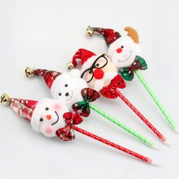 Wholesale Plastic Red Bells - 12pcs lot 2016 Christmas Decoration Xmas Cute Funny Gift Santa Claus Snowman Deer Elk Bear Ball Pens With Bell For Kids Decor