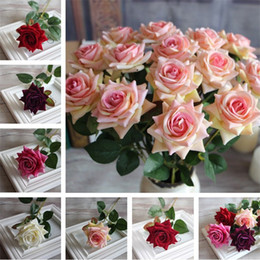 Wholesale Wedding Table Flower Arrangements - Hot sale simulation rose flower household decoration Flower arrangement 6 colors dining-table decoration Silk flower IA869