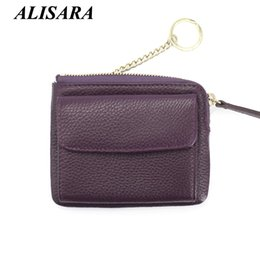 Wholesale Small Leather Pocket Change Holder - Wholesale- Women's leather wallets Lady Mini Zipper Coin Purses Female Small Change Purse key Pouch Hasp Money Bag Coin Pocket card holder