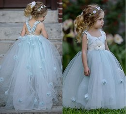 Wholesale Ball 3d Model - Classy Sky Blue Layered Tulle Pleated Frock Flower Girls Dresses Ball Gowns Lovely 3D Flowers Floor Length A Line Princess Gowns