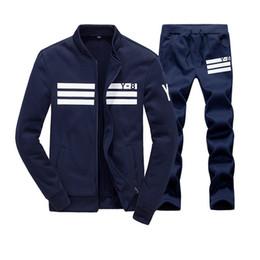 Wholesale Mens Casual Sweat Suits - Wholesale-Men Sportswear Hoodie And Sweatshirts Autumn Winter Jogger Sporting Suit Mens Sweat Suits Brand Mens Tracksuits Set Jacket+Pants