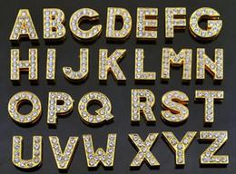 2019 rhinestone slide letter oro 1300 unids / lote 10 mm A-Z oro color rhinestones completos carta de diapositivas alfabeto encantos DIY encajan para 10MM llaveros rhinestone slide letter oro baratos