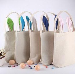 Wholesale Wholesale Totes Baskets - Easter Bunny Ears Bag Rabbit Ears Cotton Linen Basket Bag Packing Bags Handbag Tote Bags Child Festival Gift 20pcs OOA1299
