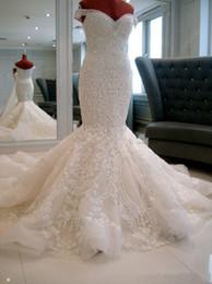 Wholesale 3d Organza Wedding Dress - Michael Cinco Cathedral Mermaid Wedding Dresses 2017 Dubai Arabic Off-shoulder Pearls Beaded Lace Princess Garden Plus Size Bridal Gowns