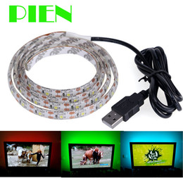 Wholesale Led Cable Lighting For Pc - Wholesale-Waterproof 100cm 1m Led Strip Light ribbon with USB Cable Port 5V for for Flat Screen HDTV LCD adhesive Tape Free shipping