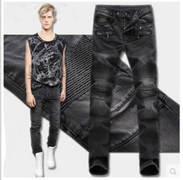 Wholesale Pants Machines - MENS FASHION JEANS PANTS 1010406Europe and the United States men's fashion handbags jeans broken hole washing machine pants