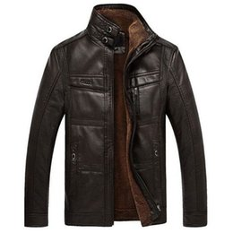 Wholesale Mens Leather Parka Coats - Winter jacket men brand leather jackets mens thick velvet warm parka jaqueta couro winter coat plus size 4XL overcoat