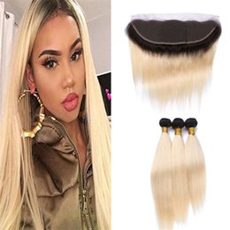 Wholesale Brazilian Virgin Ombre - Two Tone 1B 613 Ombre Straight Virgin Hair Bundles With Lace Frontal Closure Dark Roots Blonde Brazilian Human Hair Weaves With Lace Frontal