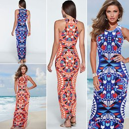 Wholesale Digital Print Runway - New Hot Sale Spring and Summer Dress Fashion Bohemia Beach Dress Digital Printing Slim Dress for Night Club One Piece Shipping