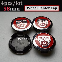 Wholesale 58mm Wheel Caps - Practicality car styling 4pcs 58mm for jaguar XJ XF F-Type XK Car Wheel Emblem Cover Auto Wheel Logo Cap ABS Aluminum wheel center caps