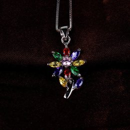 Wholesale Multicolor 925 Sterling Silver - 925 Sterling Silver Flower Multicolor Amethyst Ruby Citrine Pendant for wedding birthday Not Include The Chain