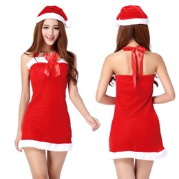 Wholesale Sexy Christmas Lady Outfits - Lady Santa Suit Christmas Fancy Dress Xmas Cosplay Costume Sexy Uniform Outfit halter