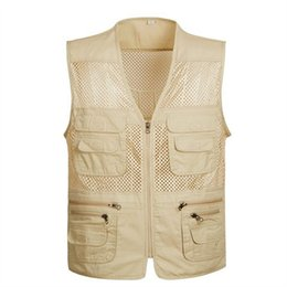 Wholesale Men Travel Vest - Wholesale- New Brand Summer Mesh Vest for Shooting Men's Sleeveless Jacket Vests 4XL Plus Size Travel Vests Photography Cameraman Vests