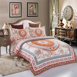 Wholesale Circle Duvets - New Circle Print Boho Ethnic Bedding Set Queen Size 4 Pcs Duvet Cover Set