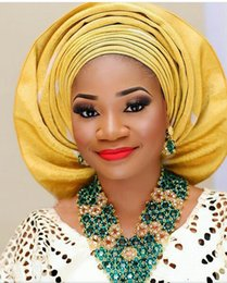 Wholesale Gold Lemon - luxury jewelry set 2017 V necklace african beads jewelry set nigerian wedding party match fashion aso oke ebi lace design teal gold