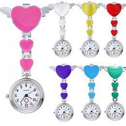 Wholesale Pocket Nurses Watch - Wholesale-2016 Hot Women Lady Cute Love Heart Quartz Clip-on Fob Brooch Nurse Pocket Watch