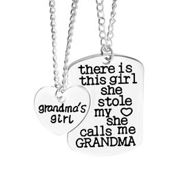 Wholesale Best Grandpa - There is a girl stole my Heart Mommy Daddy Grandpa Family Member Heart Pendant nekclace Women Necklaces Best Friend jewelry 161578