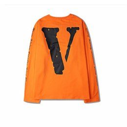 Wholesale Oversized Sleeve Shirts - Vlone hip hop T-shirts 16s Fall new arrival Men Long-sleeved Tee oversized Drop-shoulder Hot design Tops