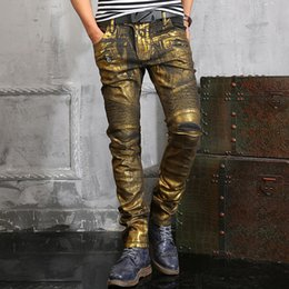 Wholesale Brand Man Jeans - Wholesale-Mens Gold Painted Biker Jeans Brand Luxury Men Skinny Jeans Slim Straight With Pocket Designs High Fashion Jean Homme Size 38