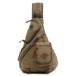 Wholesale Cotton Sling Bags - Wholesale- Vintage Men Backpack Fashion Body Messenger Cross Bag Bicycle Man Canvas Shoulder Backpack Sling Chest Single Rucksack Knapsack