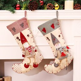 Wholesale Cheap Cotton Gift Bags - 2017 New Large Christmas Stocking Cheap Cute Christmas Tree Ornaments Stocks 3D Boys Girls Christmas Tree Decorations Kids Gifts Bags Stocks