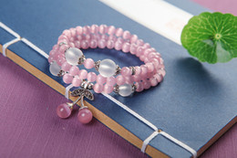Wholesale Pink Gravel - Natural crystal beaded bracelet pink cat's eye stone cherry gravel multi-layer hand string female wang peach flower hand ornament x31