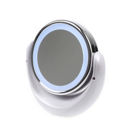Wholesale Desktop Cosmetic Mirrors - Wholesale-Desktop LED Double Sided Swivel Cosmetic Makeup Mirror Lady Beauty Facial Light Illuminated Lighted 5x 1x Magnification Mirror