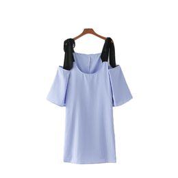 robe papillon rayée Promotion femmes élégantes manches papillon noeud papillon robe rayée des poches d'épaule d'été occasionnels mini robes