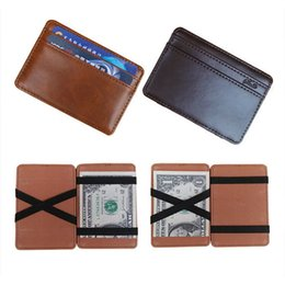 Wholesale Magic Clip Holder - PU Leather Magic Wallets Men Money Clips Card Purse 3 Colors Coffee Black And Dark Coffee A317