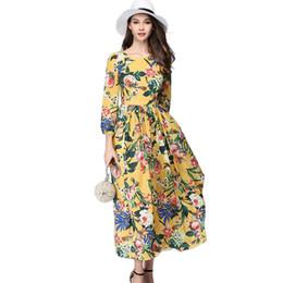 0cbc1df49a26 Runway Dresses 2017 Women High Quality Summer 3 4 Sleeve Floral Print Maxi  Dress European Vintage Party Dresses Vestido Longo