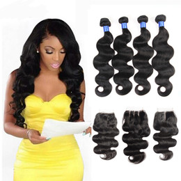 Wholesale Hair Closure Parting - Brazilian Body Wave Human Hair Weaves Extensions 4 Bundles with Closure Free Middle 3 Part Double Weft Dyeable Bleachable 100g pc DHL
