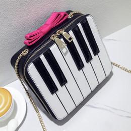 Wholesale fun bow - Wholesale- Fun cute personalized fashion style stripes hit color bow ladies piano shape shoulder bag across body messenger bag handbag flap