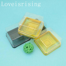 Wholesale Clear Plastic Gift Box Packaging - New Arrivals--100pcs=50sets 6.8*6.8*4 cm Clear Plastic Moon cake Holder Cake boxes Muffin Container Food Gift Packaging Wedding Supplies